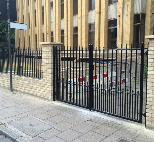 Security gates at the front of office blocks