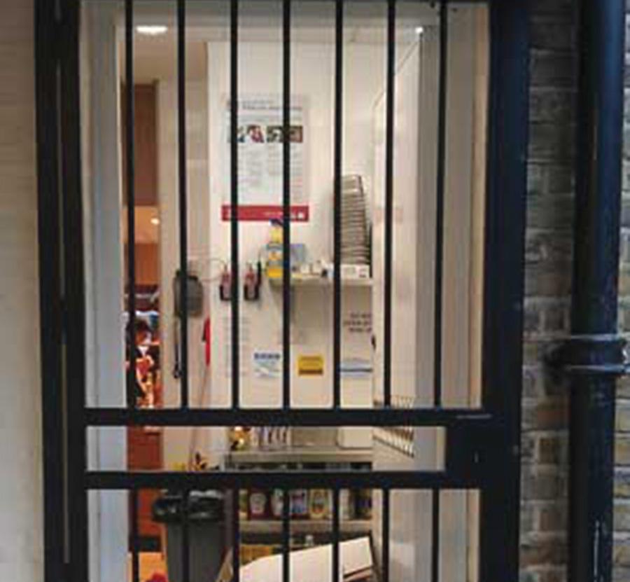 Security grille on office door