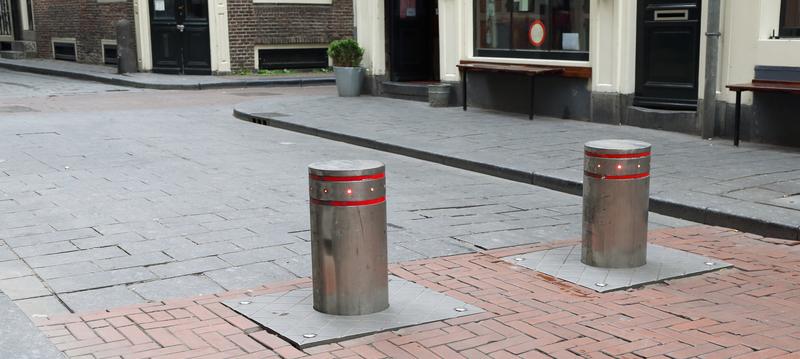 Bollards on a street